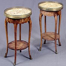 ADDENDUM: PAIR OF SIDE TABLES - Italian provincial style with brass gallery rails, inset marble tops, scalloped skirting with floral...