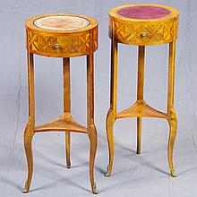 ADDENDUM: PAIR OF SIDE TABLES - Italian provincial style with inset leather tops, marquetry inlay, single drawers, and cabriole legs...