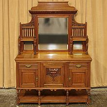 PHOTO ADDED; ANTIQUE ENGLISH WALNUT SIDEBOARD - With tall mirrored back with integrated display shelves and gadrooned moldings, turn...