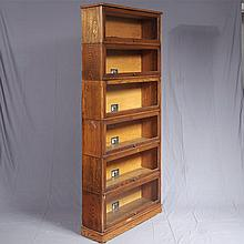 ADDENDUM; BARRISTER'S BOOKCASE - Antique American oak, manufactured by Skandia Furniture Company, Rockford Illinois and marked wit a..