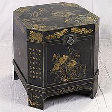 LACQUER BOX ON STAND - Vintage Chinese with hand cut-corner square configuration, painted gilt decorations in pastoral motif