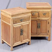 LOT TWO DOUBLE DOOR CABINETS - Chinese pine with square tops, one cabinet with two upper drawers and the other with single full-widt...