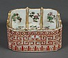 CHINESE PORCELAIN FAMILLE ROSE BRUSH WASHER - Square shape with interior painted sections each decorated with flowers. Overall diape...