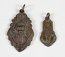 TWO BRONZE BUDDHA AMULETS - Both standing; one holding a tablet or alms bowl and the other figure with arms held to the side. Charac...