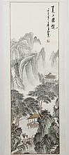 CHINESE SCROLL - Marked with artist seal, having calligraphy and a watercolor and ink landscape with trees, figures and mountains. C...