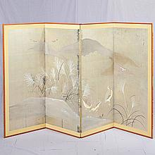 FOUR PANEL FOLDING SCREEN - Vintage Japanese silver gilt over paper with two-way paper hinges and hand-painted scene of grouse in th...