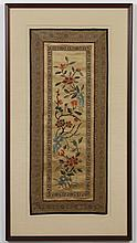 CHINESE EMBROIDERY - Fine needlework showing a bird and flowers on a tan background. Condition good. Early 20th century. 29.75