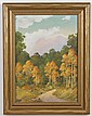 WILLARD J. PAGE (1885-1958, Colorado) OIL ON PAPERBOARD - Signed landscape painting of mountains in background. Condition good. Mid-...
