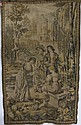 POLISH TAPESTRY PANEL - Pre-WWII Polish machine woven tapestry depicting a gentleman with three ladies in a garden. in shades of tan...