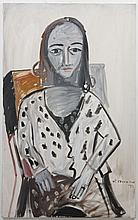 JAY STEENSMA (1941-1994, WA) PAINTING - Signed oil on canvas portrait of a seated woman in a polka dot sweater