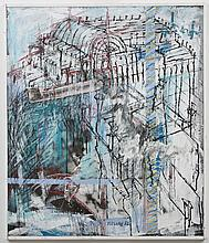 MELUHN PAINTING - This mixed media acrylic on board is signed at lower center and depicts an abstracted building in blues and greys