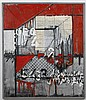 MELUHN PAINTING - This mixed media and acrylic on board is signed and dated at lower left. It is a composition in reds and greys, wi...