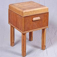 DISPLAY STAND - Vintage artisan crafted art deco style oak with cubic form, chamfered plinth-style top, solid handles and straight s...