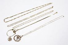 GOLD CHAINS AND PENDANTS - Five gold chains of varied styles and two circle pendants. Most marked