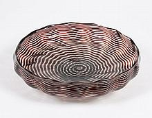 GLASS EYE STUDIO LOW BOWL - In a dichroic pattern with ruby swirls that spiral outward from a center point on the bowl floor. Clear ...
