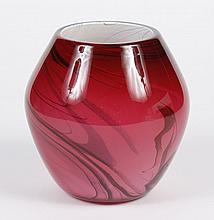 DAN BERGSMA PINK RASPBERRY SWIRLED GLASS VASE - Globular cased glass form with black swirled trailings, i.e.