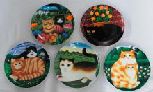Set of Five Cat-Motif Decorative Plates by British Arti