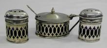 Vintage Cobalt and Silver Condiment Set - Mustard Pot a