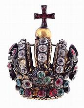 19th century gilt silver and paste colored stones, Episcopal crown.