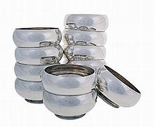 Set of 12 silver finger bowls