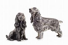 Cocker spaniel, pair of Spanish silver sculptures. Spanish hallmarks for the 20th century. One signed M. CERRETI.