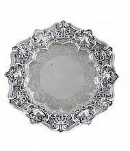 19th/20th century Portuguese silver salver.