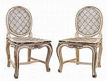 Pair of 20th century, D. Maria style Portuguese, painted chairs.