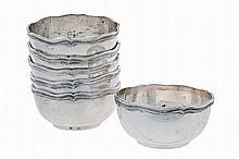 Set of 6, 20th century , Portuguese silver finger bowls.