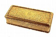 Gilt silver European snuff box, 19th century, decoration with fruits and leaves. Unidentified markings in the interior. With original velvet lined box. Some signs of wear.
