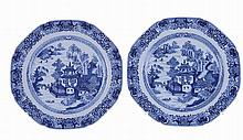 Pair of Chinese porcelain plate, blue and white decoration.