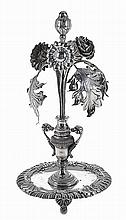 Portuguese silver toothpick holder, vase with flowers.