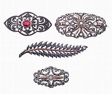 Lot of 4 gold & silver brooch set with imitation stones.