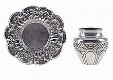 Portuguese silver, small jar and salver, 20th century.
