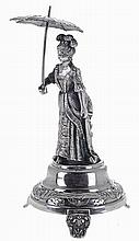 Portuguese silver toothpick holder, lady 18th century style with umbrella.