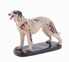Greyhound dog, European ceramics sculpture.