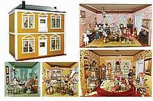 Dollhouse painted wood, with four divisions. Early 20th century.