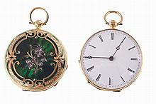 Swiss guilted gold brest watch, with green enemel decoration on the back.