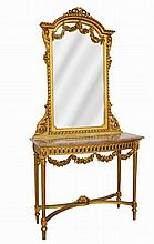 Gilt carved wood console, Louis XVI style.