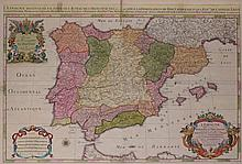 Iberian map, print on paper, Paris, 1672.