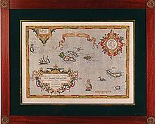 Azores map, print on paper, 1584.