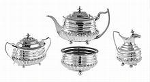 Portuguese and English silver tea set, 19th century.