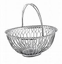 Portuguese silver bread basket, 19th/20th century.