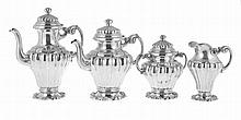 Portuguese silver tea & coffee set, 20th century.