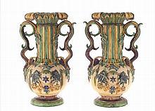 Set of two Caldas da Rainha faience jars.