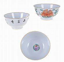 Chinese porcelain, set of 3 bowls decorated with flowers, 18th century.