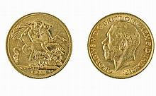 Gold pound coin George V, 1913.