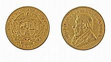 South African gold pound coin, 1897.
