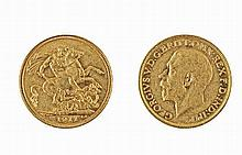 Gold pound coin, George V, 1911.