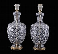 Pair of crystal table lamps.