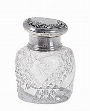 Portuguese silver & glass inkwell.